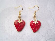 RED STRAWBERRY Gold Plated Drop Earrings VINTAGE STYLE Kitsch Berry Lipstick red