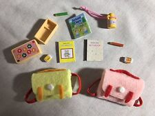Calico critters/sylvanian families 2 Vintage Backpacks With School Supplies
