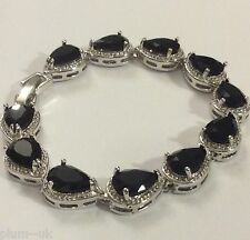 "GB099 Black pear onyx 7.25"" silver links bracelet (white gold gf) BOXED Plum UK"