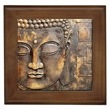 Asia Buddha Bronze Look Decor Framed Ceramic Tile Bali Hut Wall Bench Plaque BN