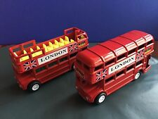 Set Of 2 Metallic London Double Decker Buses Pencil Sharpener Souvenir Gift
