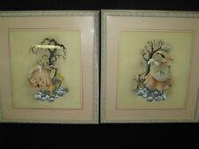 Pair of Art Deco Paintings - Benjamin Jorj Harris - Original Frames/Mats