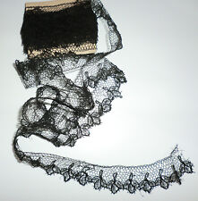 "Vintage Antique Black Victorian Mourning Chantilly Lace 2pc Lot 1"" by 106"" & 22"""