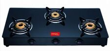 Surya Smarty LPG 3 Burner Glass Top  Quality Gas Stove - 1 Year Warranty - Heavy
