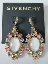 NWT Auth Givenchy Opalescent Stone Swarovski Crystal Drop Dangle Earrings $68