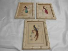 Antique Oriental FEATHER ART Bird Pictures Set 3 Wall Hangings Old Vtg Decor
