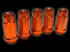 20PC 12X1.25MM 50MM EXTENDED ALUMINUM RACING CAPPED LUG NUTS ORANGE