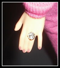 JEWELRY BARBIE DOLL MODEL MUSE JUICY COUTURE FAUX SILVER DIAMOND RING  DIORAMA