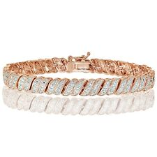 18K Rose Gold Tone 0.25ct  Natural Diamond Wave Link Tennis Bracelet in Brass