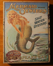 Rustic Weathered Wood MERMAID OYSTERS Beach Block Shelf Home Decor Sign NEW