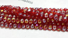 70 Faceted Rondelle Crystal Glass Beads 28 COLOUR 8mm FREE PP