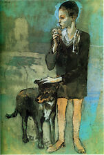 "Pablo Picasso ""Boy with Dog"" 1905 giclee 8.3X11.7 canvas print"