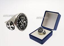 Anello Sigillo Templare Vero Argento 925 diametro a scelta