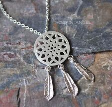 925 Silver Plt Dreamcatcher Necklace Pendant Girls Ladies Gift Native American