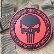 RED PUNISHER GITD GOD WILL JUDGE OUR ENEMIES TACTICAL USA SWAT PVC VELCRO PATCH