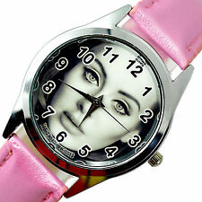 ADELE MUSIC STAR SINGER Stainless Steel PINK LEATHER BAND ROUND CD VINYL WATCH