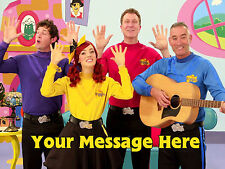 NEW WIGGLES PERSONALISED EDIBLE ICING CUSTOM PARTY CAKE DECORATION TOPPER IMAGE