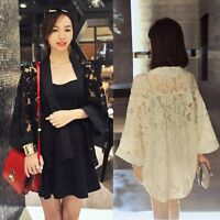 Fashion Women Tops Loose Cardigan Jacket Lace Kimono Casual Ladies Blouse Kimono