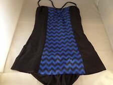 NWT Bettie Page Tide & Tested 1pc Swimsuit Size 10  Blue Black Chevron
