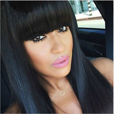 Women Long Straight Fashion Wigs Synthetic Hair Cosplay Natural Hair Black Wigs