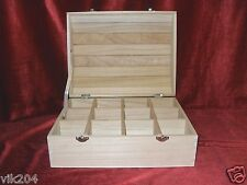 ONE  EX-LRG  PLAIN WOODEN TREASURE CHESTS JEWELLERY TRINKETS  DESCOUPAGE  BOXES