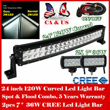 """24inch 120W Curved LED Light Bar + 2X CREE 7"""" 36W LED Work Light OffRoad Driving"""