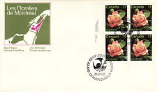 CANADA #896 17¢  MONTREAL ROSE FLORAL LL INSCRIPTION BLOCK FIRST DAY COVER