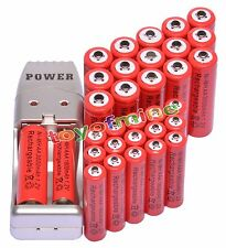 16+16 X AA AAA 1800mAh 3000mAh Rechargeable Battery 1.2V Red + USB Charger
