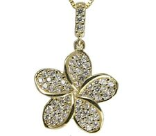 SOLID 14K YELLOW GOLD SPARKLY BLING CZ HAWAIIAN PLUMERIA FLOWER PENDANT 13.5MM