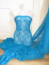 "1 MTR JEWEL BLUE LYCRA STRETCH LACE FABRIC...60"" WIDE"