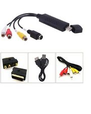 USB Convertidor de Audio Video VHS a DVD Captura Completo SCART Kit con contactos & Cable