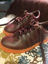 RARE K-SWISS® Brand Mens Brown Leather Shoes w/Orange Nubby Soles 7.5 7-1/2 NEW