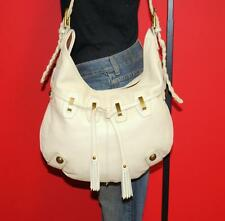 ADRIENNE VITTADINI Medium White Leather Drawstring Hobo Satchel Tote Purse Bag