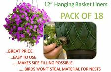 12 inch Hanging Basket Liners (18 Pack) - Easy to use Liner - Just Cut to Size