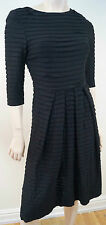 STRENESSE GABRIELE STREHLE Black Pleated Round Neck 3/4 Sleeve Formal Dress UK8