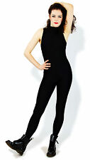 Black Lycra Catsuit Nylon Spandex Bodysuit Dancewear Sleeveless Adults Small