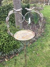 Cast Iron Garden Bird Bath/ Feeder with 2 Birds & leaf on Stake (free standing)