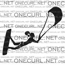 Kiteboarding vinyl sticker, car decal, kitegirl, black and white, onecurl