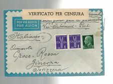WW 2 Ferramonti Italy Concentration Camp Cover to Swiss Red Cross
