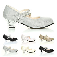 GIRLS KIDS CHILDRENS LOW HEEL PARTY WEDDING MARY JANE STYLE SANDALS SHOES SIZE'S