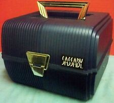 Sassaby Dark Blue Make Up Case Tote w Mirror Organizer Crafts Carrier Clean VGUC