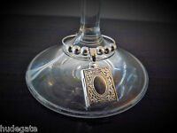 10 Silver Plated Locket Wine Glass Charms Table Decor Wedding Birthday Party