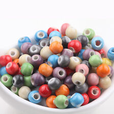 Wholesale 50Pcs Mixed Round Ceramic Solid Loose Spacer Charms Beads Findings 6mm