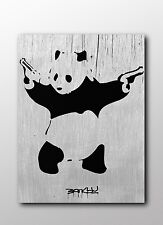 ACEO Banksy Panda With Guns Graffiti Street Art Canvas Giclee Print