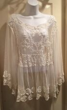 Pink Melo Crocheted Embroidered Mesh Top free Spirit people Natural Ivory  L NWT