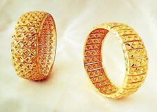 Indian Traditional  2pcs antique Gold plated Bangles Royal bracelet size 2.8 .