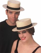 Straw Boater Skimmer Hat - Perfect for Gondoliers and Amish