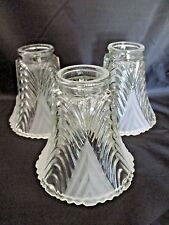 Set of 3 VINTAGE LAMP SHADE LIGHT COVERS Clear & Opaque Cut Glass