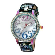 NEW NIB BETSEY JOHNSON CRYSTAL IRIDESCENT SNAKE EMB LEATHER WATCH BJ00564-01 !!