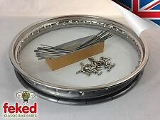 "STAINLESS RIM & SPOKES - NORTON COMMANDO - 19"" FRONT WHEEL - OEM: 06-1951"